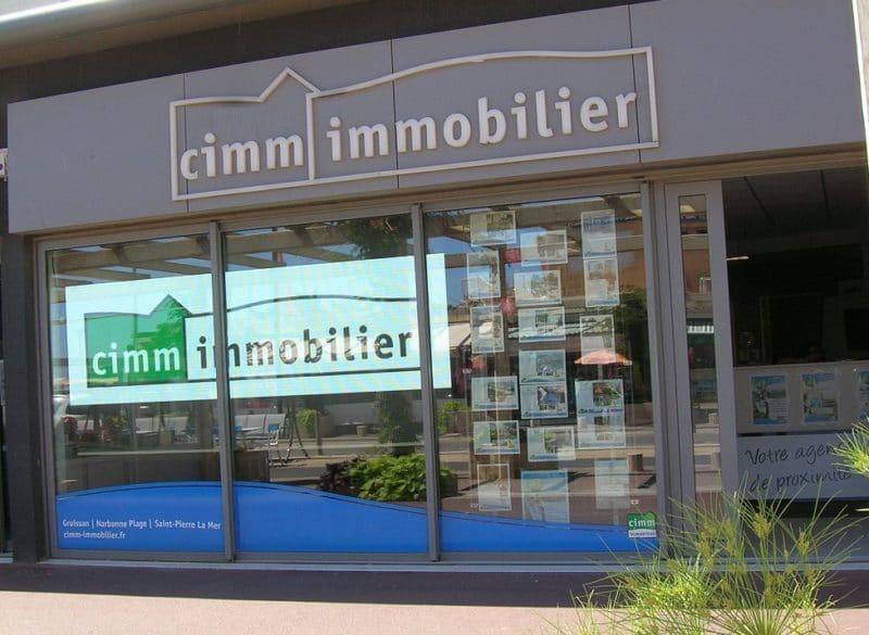 Ecran de vitrine Ledoneo Cimm Immobilier Narbonne Plage
